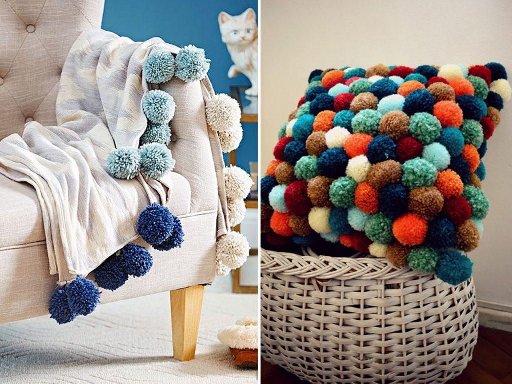 manta pompones decorar con lana