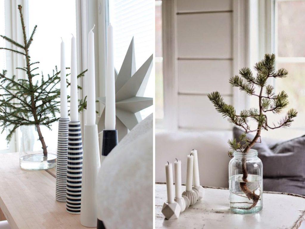 troncos y velas decoración navideña nórdica