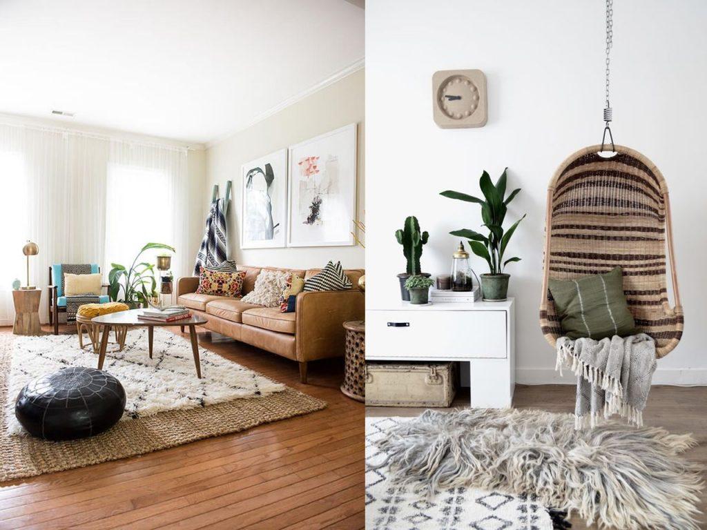 capas de alfombras en decoración de casas acogedoras