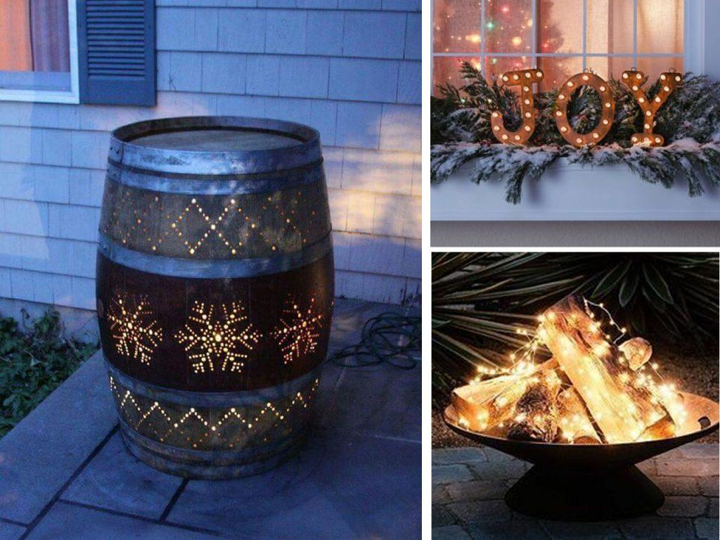 decoración navideña para balcones DIY luces