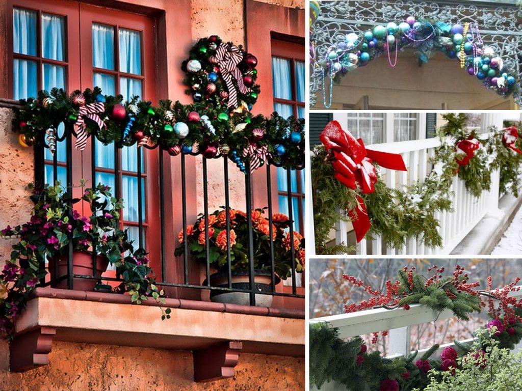 decoración navideña para balcones rejas