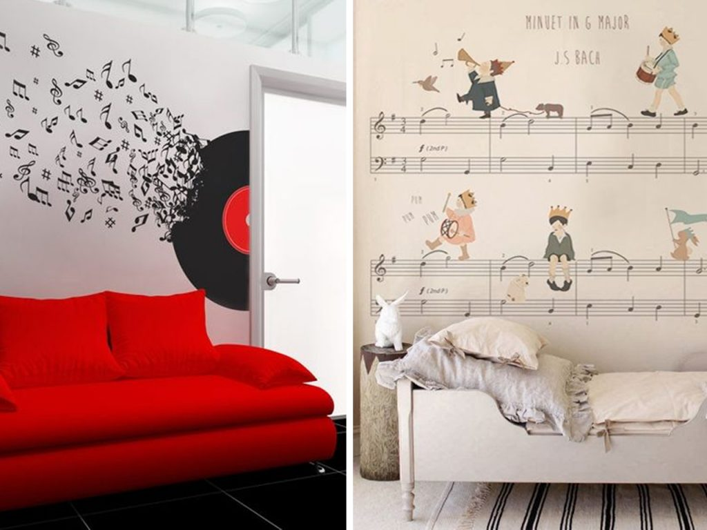 decoración musical vinilo pared