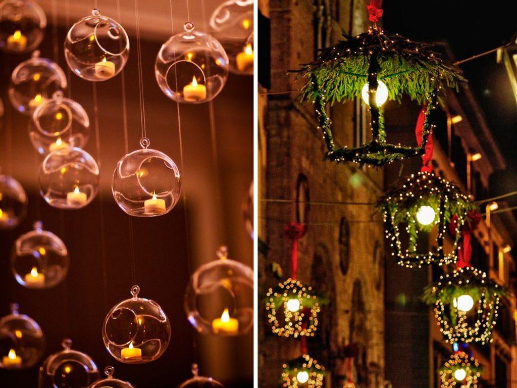 decoración navideña para balcones velas