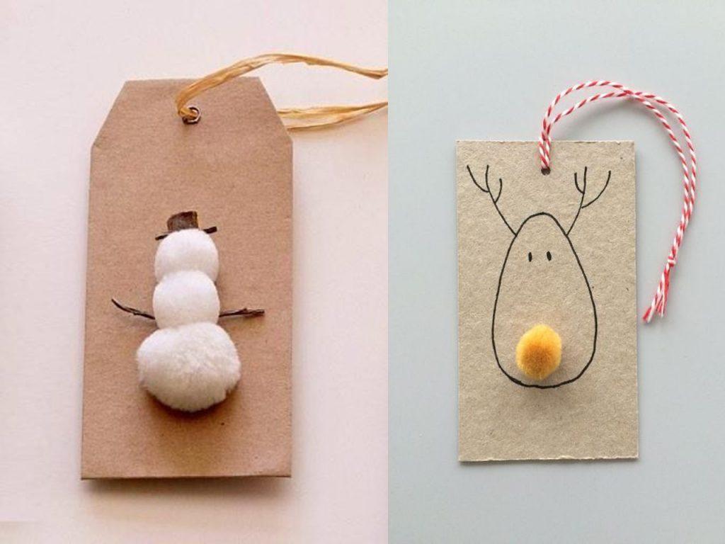 etiquetas de Navidad pompones