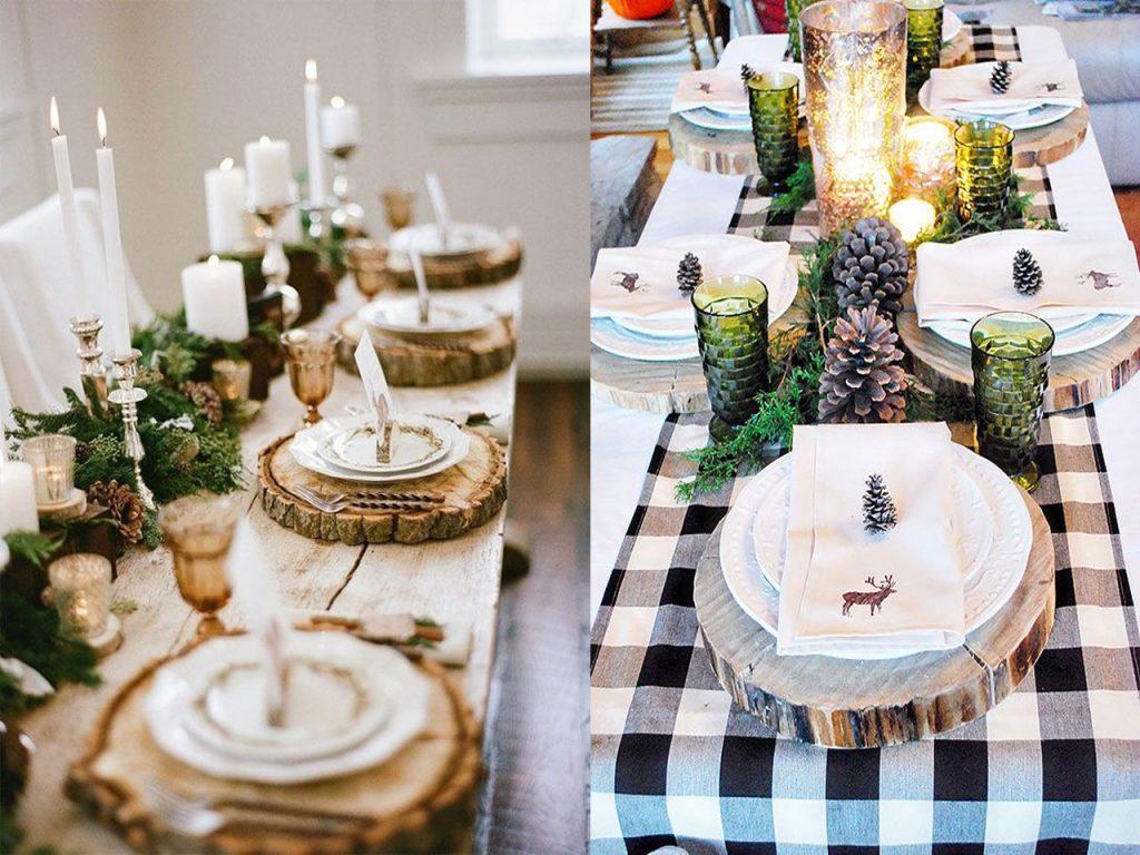 decoración mesa Navidad natural