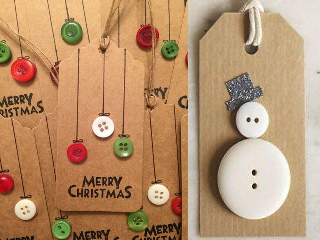 etiquetas de Navidad botones