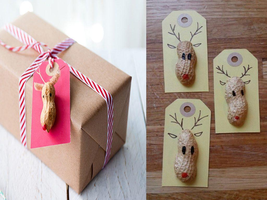 etiquetas de Navidad renos cacahuetes
