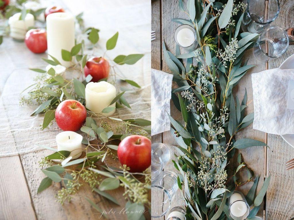 decoración mesa Navidad eucalipto