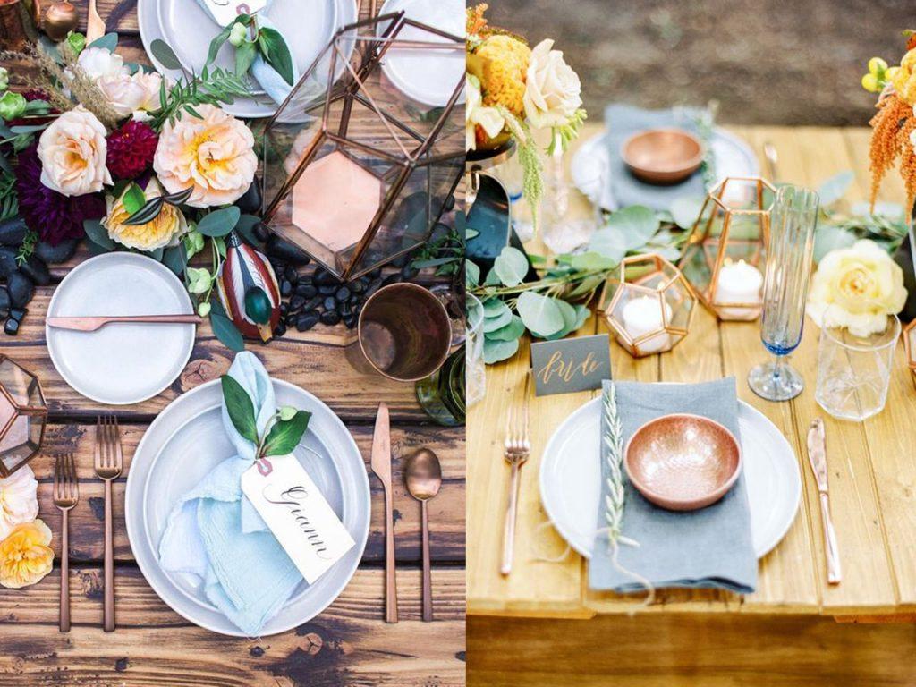 decoración mesa Navidad cobre