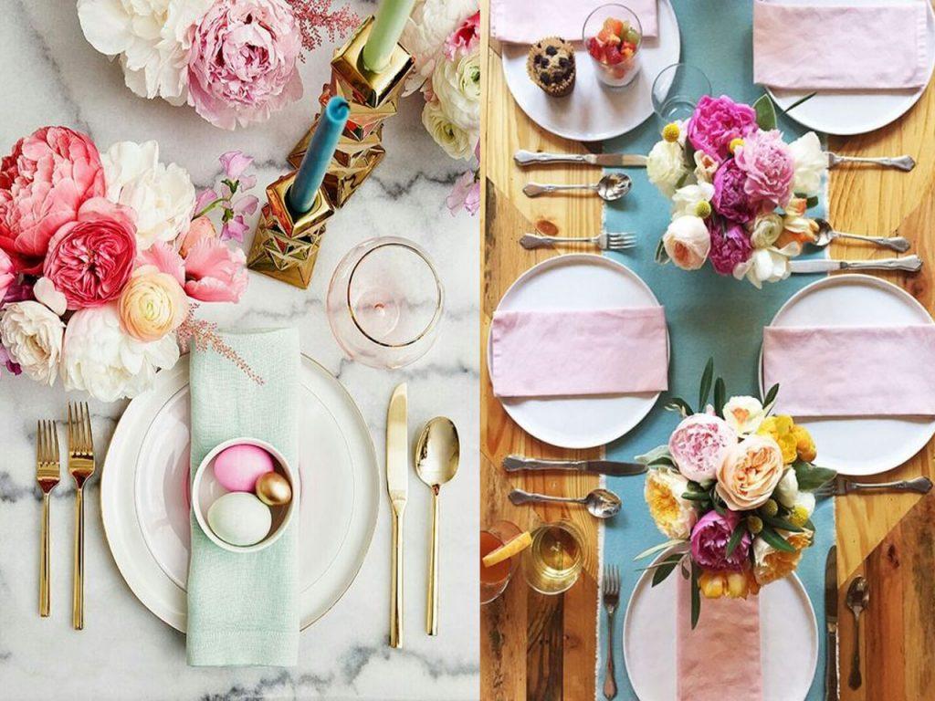 decoración mesa Navidad colores pastel