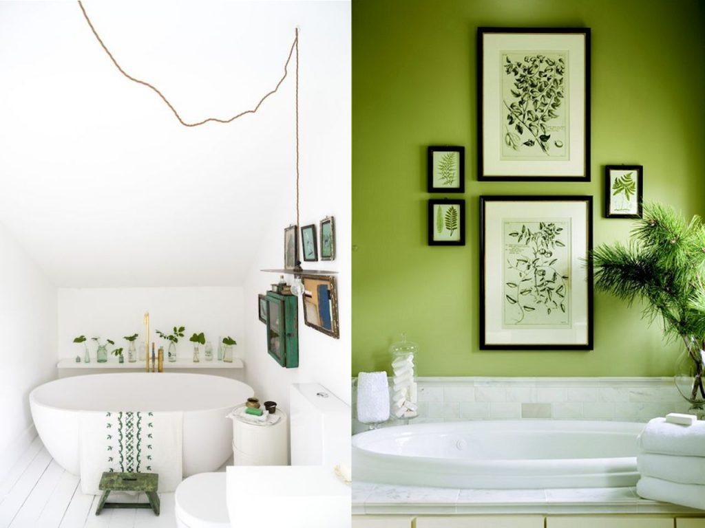 decoración con greenery baños