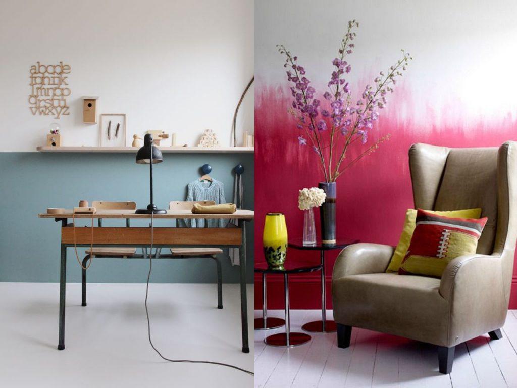 paredes de dos colores tono neutro e intenso
