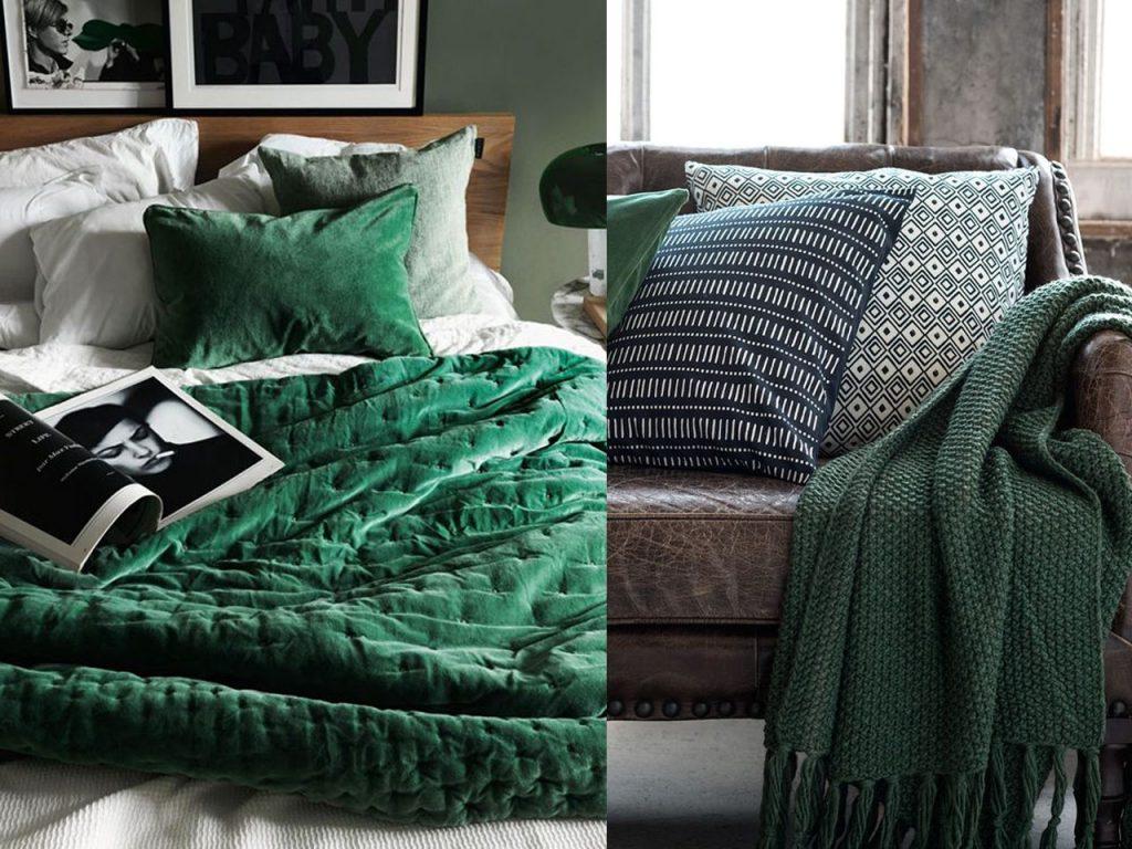 toques decorar en color verde cojines