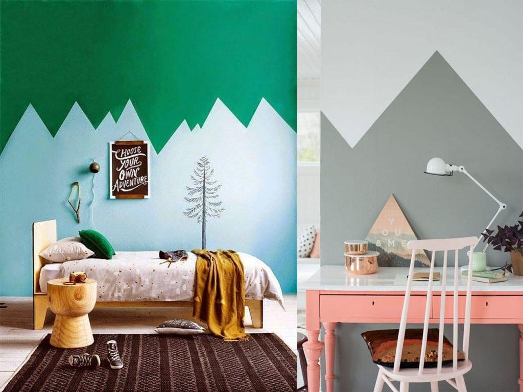 paredes de dos colores montañas