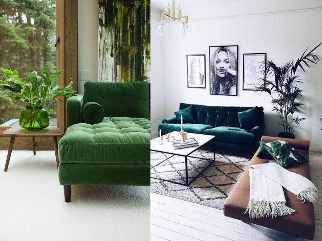 sofá decorar en color verde
