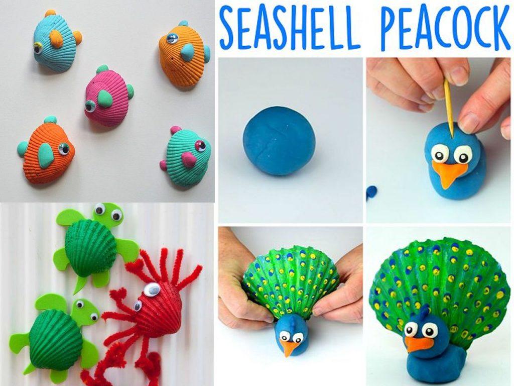 conchas de mar con motivos de animales