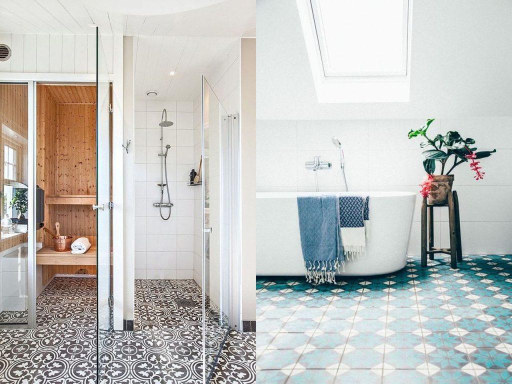baldosas hidráulicas baño