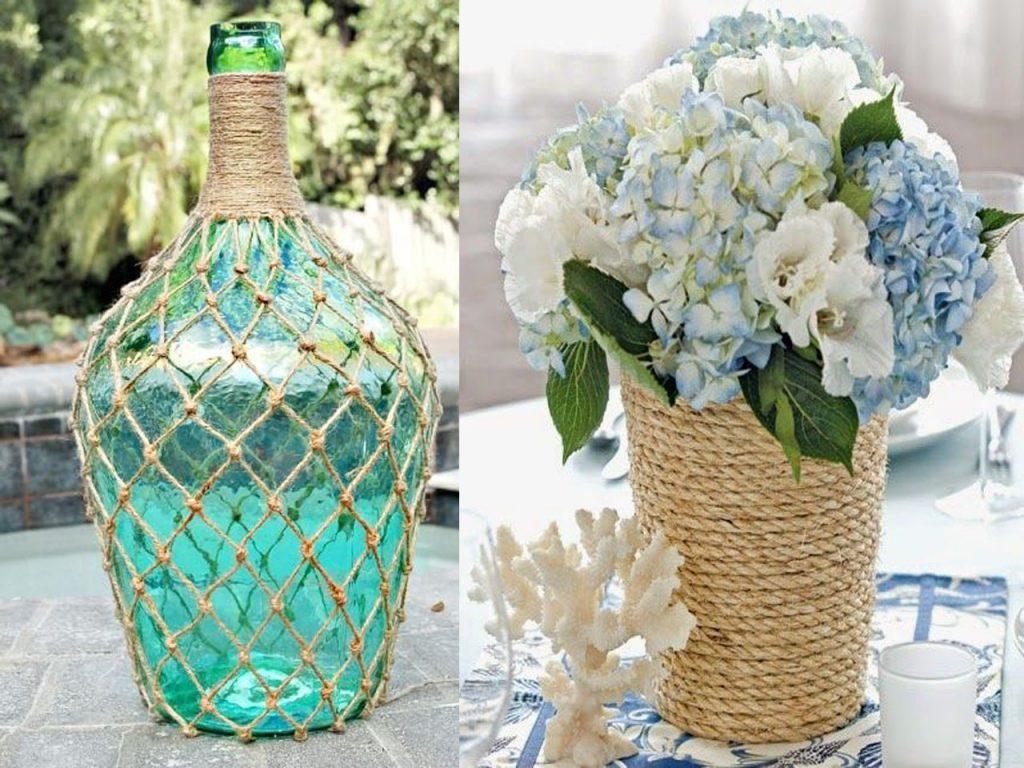 envolver un jarrón con cuerda para tu decoración marinera