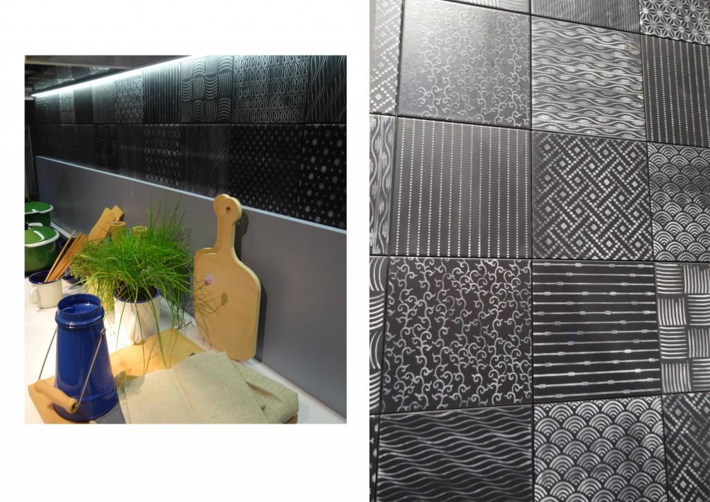 Baldosa hidráulica para la pared de una cocina.