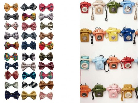 Colección de pajaritas y teléfonos antiguos. Visto en Pinterest.