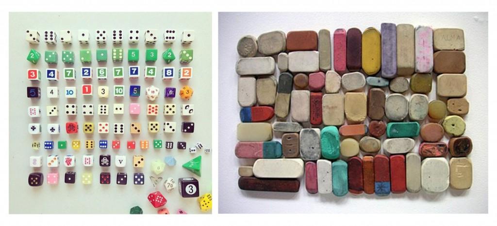 Colección de dados y de gomas de borrar. Visto en Pinterest.