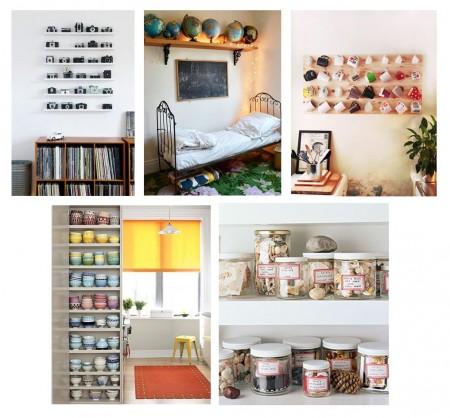 Cámaras de foto en estantes finos, bolas del mundo en estante, tazas colgadas, cuencos en estanterías, elementos naturales en botes.