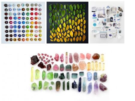 Chapas ordenadas por colores, Degradado de hojas, colección color azul, minerales por colores.