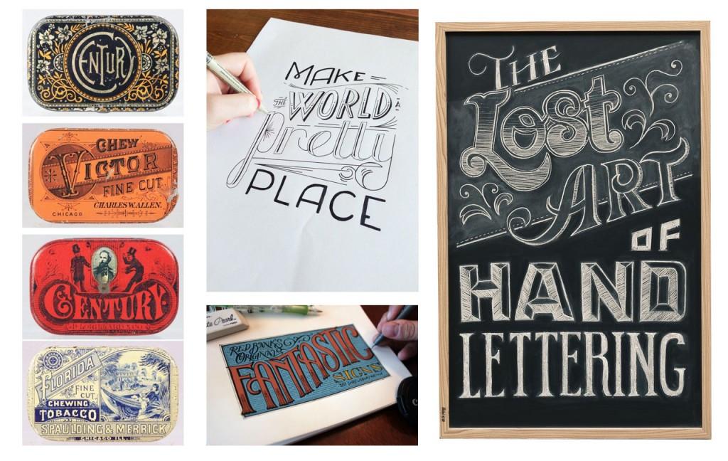 Cajas de lata vintage, trabajando el lettering, lettering a color y pizarra vistos en Pinterest.