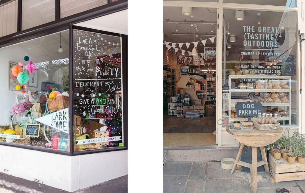 Escaparate tienda de artículos de decoración y regalo y tienda de alimentos.
