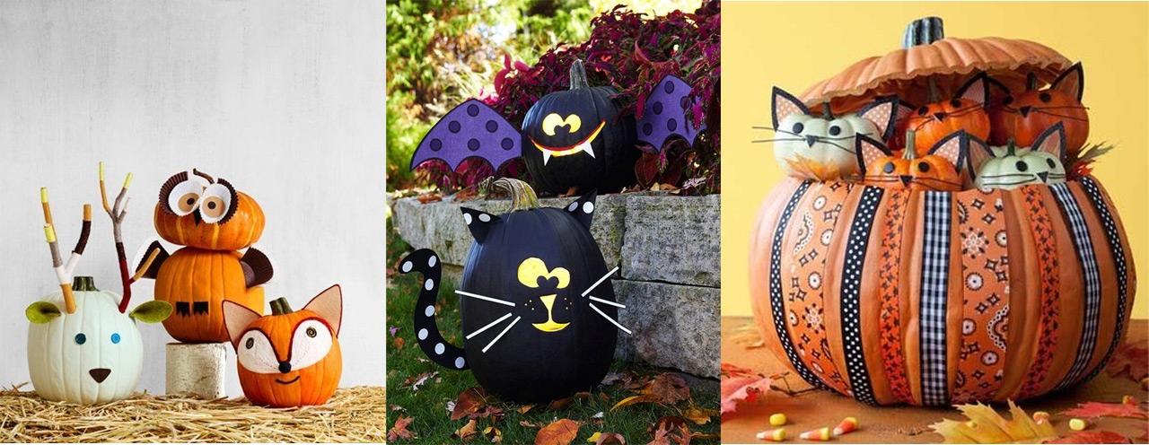 Decoraci n halloween - Calabazas pintadas y decoradas ...