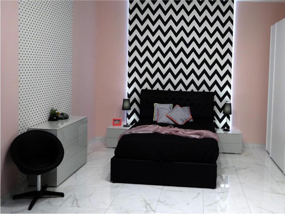 Motivos gráficos en el dormitorio con el blanco y negro