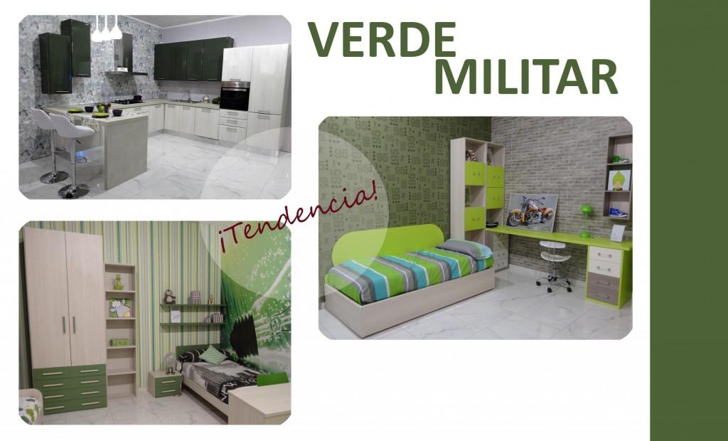 Diferentes propuestas decorativas con verde militar.