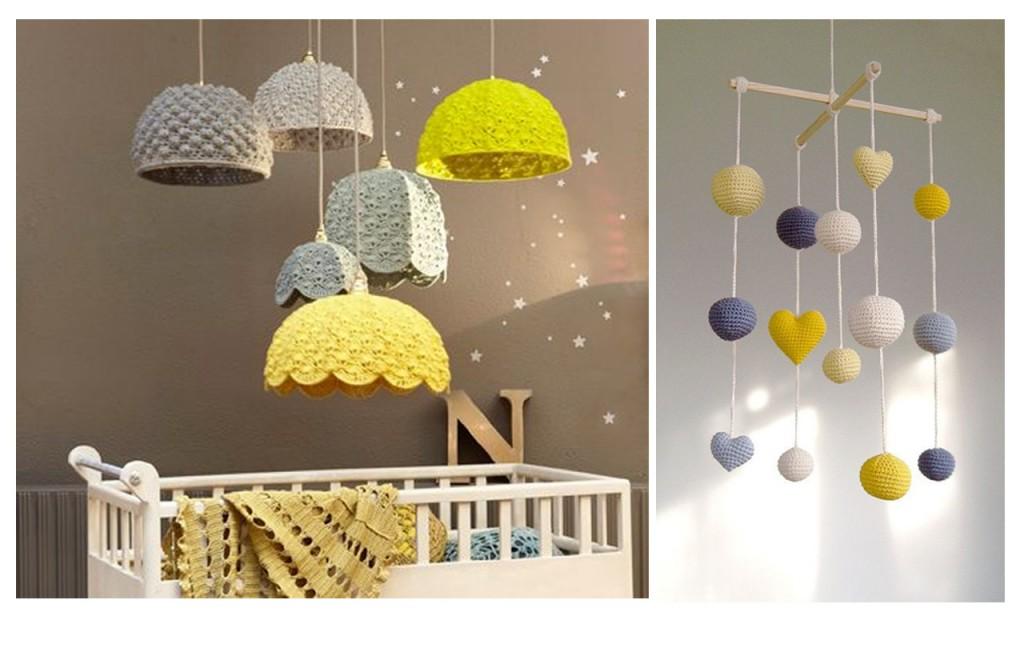 Lámparas de crochet vistas en Home dzine y móvil visto en Etsy.