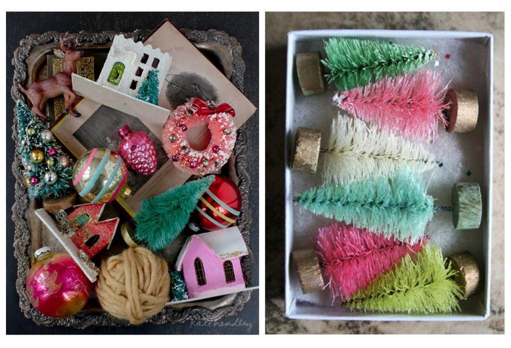 Bandeja con objetos vintage vista en Kate headley y caja con árboles de Navidad vista en Pinterest.