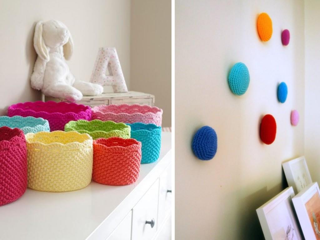 Cestos de crochet vistos en Handy crafter y colgadores de crochet vistos en Etsy.