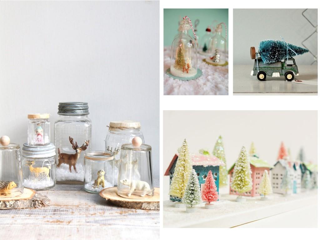 Composición con botes de cristal visto en Etsy, campanas de cristal con objetos vista en My so called crafty life, camioneta con árbol visto en Vintage juncky y ciudad nevada vista en Ben Franklin.