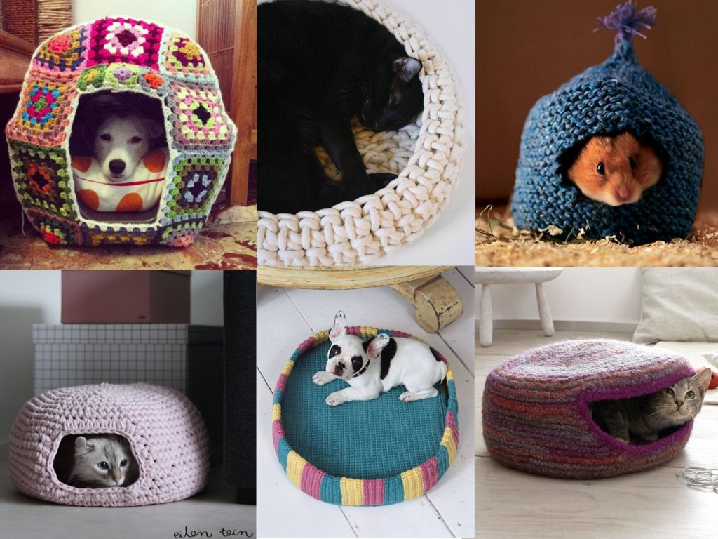 Casita de perro vista en Homedit, cesta de gato blanca vista en Babble, casita de hámster vista en Pinterest, cueva de gato rosa vista en eilen tein y cama de perro y cueva de gato violeta vistas en Pinterest.