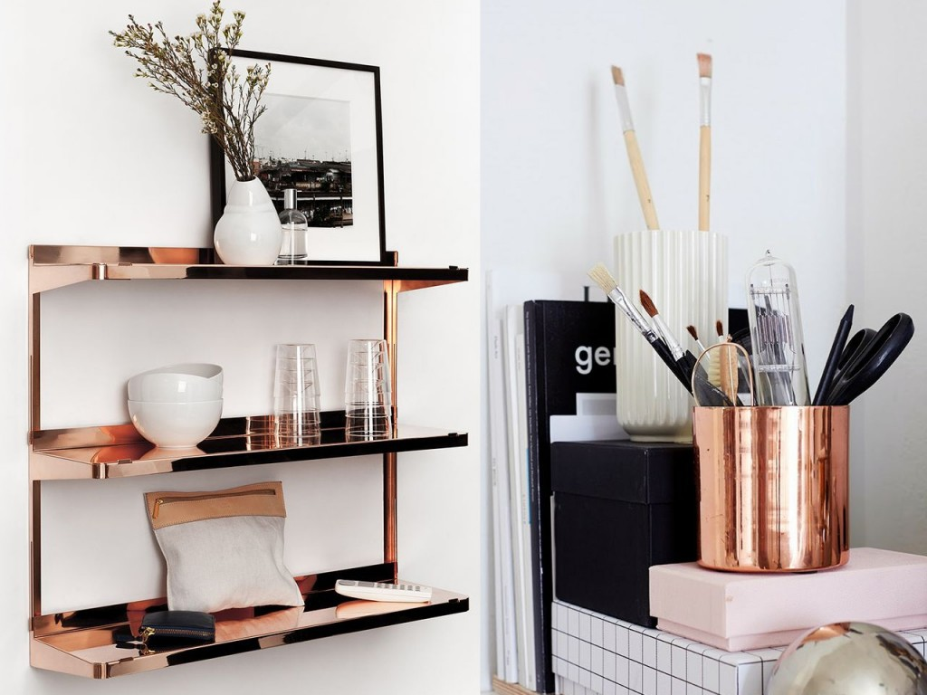 Decoración estanterías con cobre