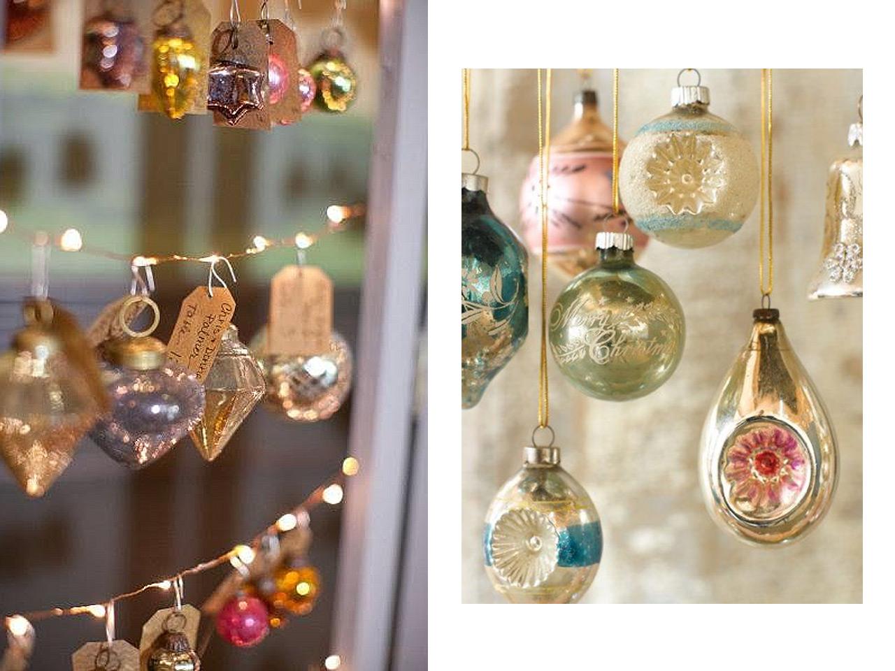 e507a833e5e0e Guirnalda luminosa con adornos y bolas vintage vistas en Pinterest.