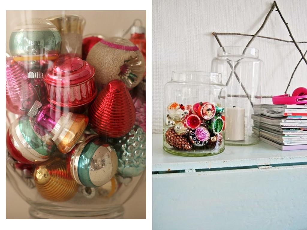 Recipiente de cristal con adornos zoom visto en Flickr y mueble con recipiente de cristal y otras decoraciones visto en Den gode feen.