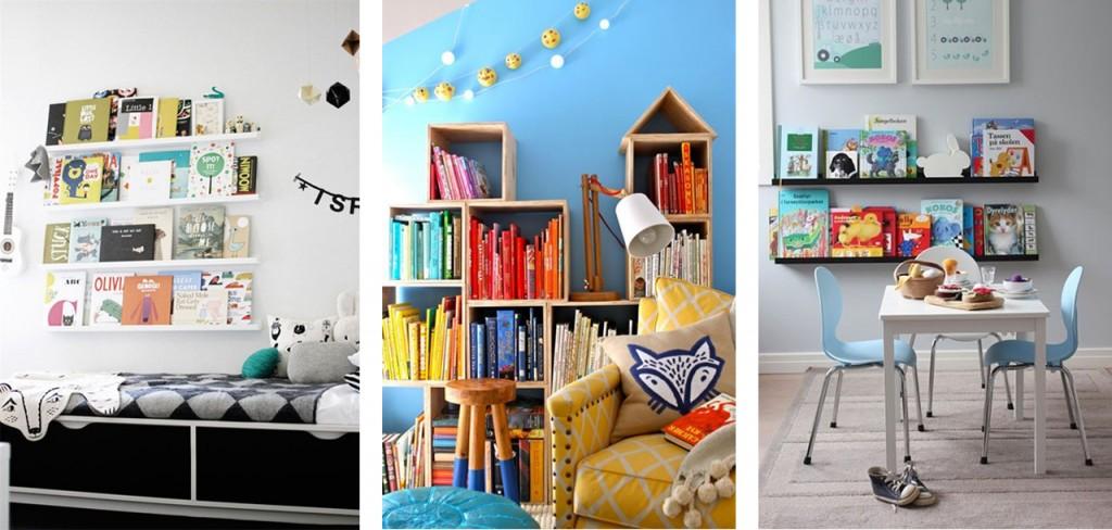 Habitación B&N visto en Hus&Hem, estantería ordenada por colores vista en Pinterest y estantería negra vista en NIB.