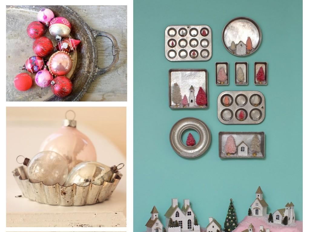 Bandeja con bolas de Navidad rojas vista en Revelment, molde con bolas rosa pastel visto en Pinterest y pared turquesa con moldes y bandejas de horno visto en Fynes designs.