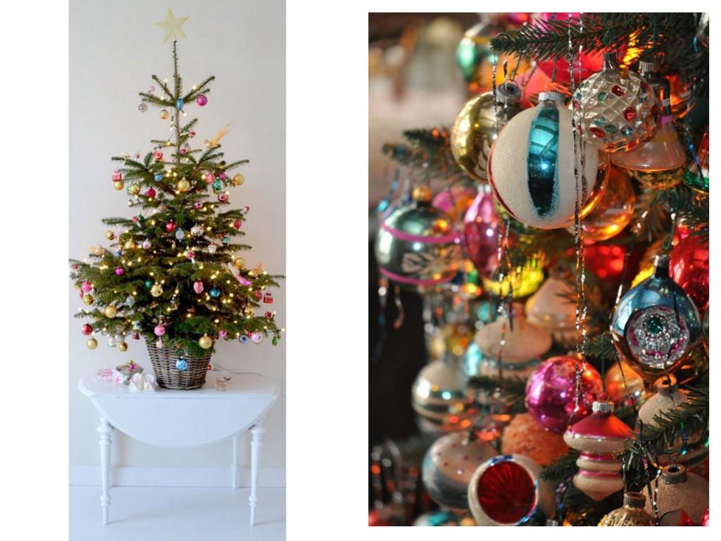 Árbol de Navidad visto en Pinterest y bolas vintage vistas en Mahoning history.