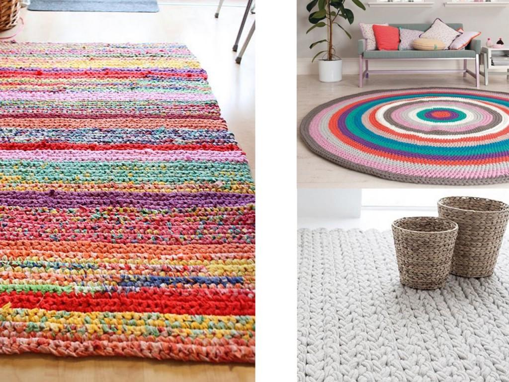 Alfombra de trapillo reciclada vista en Froekenen & Baronen, Alfombra círculo de colores vista en Welke y alfombra blanca vista en Pinterest.