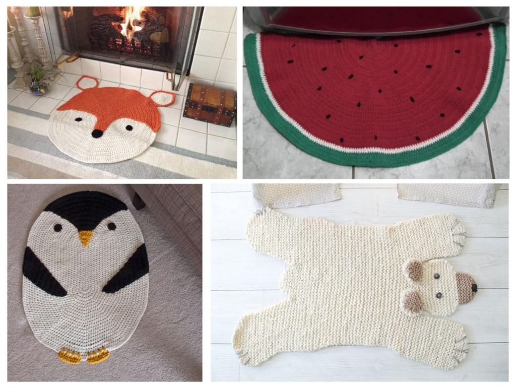 Alfombra con cara de zorro y pinguino vistos en  Etsy, oso visto en fée pas ci, fée pas ça, Sandía vista en Pinterest.