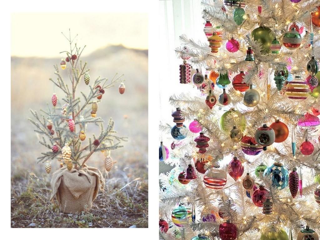 Árbol con pocos adornos visto en Bathwater y árbol con muchos adornos visto en Pinterest.