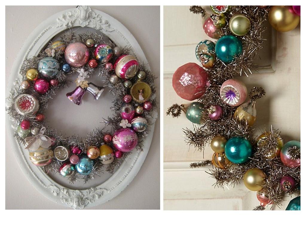 Corona de Navidad con marco vista en Flickr y detalle de corona con bolas vista en Pinterest.