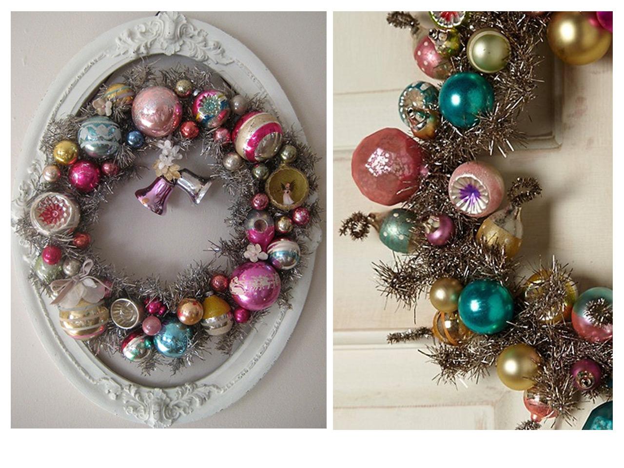 corona de navidad con marco vista en flickr y detalle de corona con bolas vista en