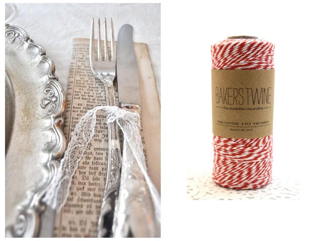 Cubiertos con puntillas vistos en Colin Cowie weddings y Baker's Twine.