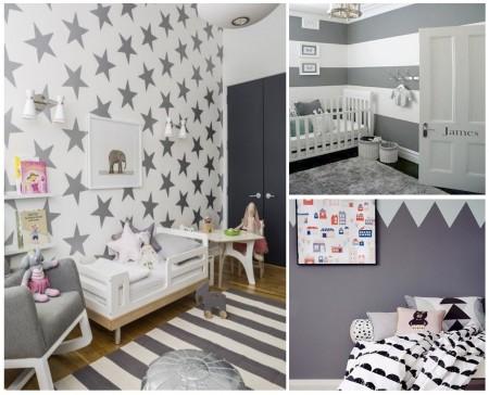 habitaciones infantiles: blanco y gris